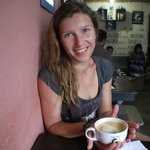 "Ania enjoying a ""latte art"" Latte :)"