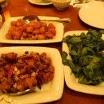 crispy shrimp, kung pao chicken, spinach