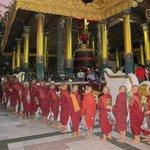 Young Monks Parade At Shwedagon Pagoda.