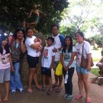 With the statue of the survivor of the Japanese ambush..