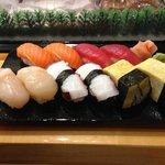 first round: hotate, tako, tamago, maguro & masunosuke