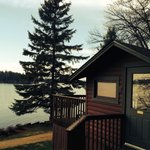 One of many different cabins next to the lake