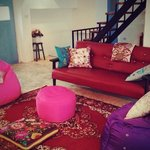 red sofa at living room
