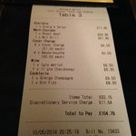 the bill, we have no idea what is the cover charge. and the service fee is not option-able