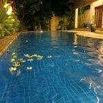 Villa pool at night