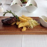 Steak chips cabbage bernaise sauce