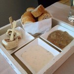 Free starter. Bread with peanut sauce & herb dips. Yummy