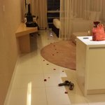 rose petals leading us to bed on arrival