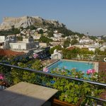 Roof Garden Restaurant and Pool with a great view of Acropolis