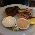 Steak and scampi entree