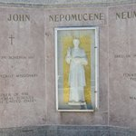 Memorial to St John Neumann, outdoors and near the front entrance