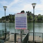 Look for these signs to take the free ferry across the Rhone