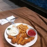 Fish Fingers by the pool from Mozzarella at The Magani