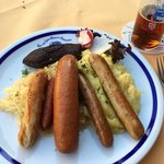 Sausages, sauerkraut, mashed potatoes and altbier. Yum.