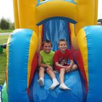 Garrett and Daniel having a great time in Combo Inflatable