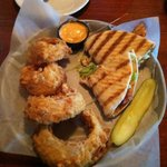 Grilled chicken and pimento cheese panini
