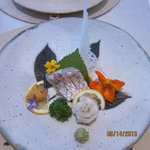 Colorful presentation, including edible flowers