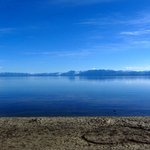 View of Lake Tahoe on a still evening from Tahoe City