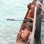 Begging children from the fishing village