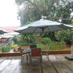 Outdoor Eating Area in brief rain