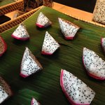 dragon fruit at the breakfast buffet
