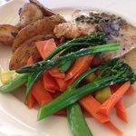 Chicken burre blanc with fresh veggies. Yummy!!