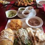 fajitas, three salsas, combination dinner