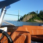 Boating under the Lions Gate Bridge