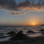 Coucher de soleil depuis la plage privée