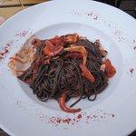 squid ink pasta with calamari