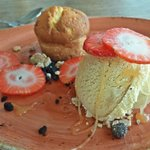 Almond cake with ice cream