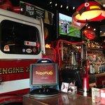fire truck behind the bar