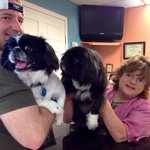 Sharyn and her dog Joey and our puppy Bryson, both Pekingese