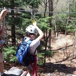 My son wanted to be first on every zipline