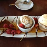 Flan, chocolate mousse, snicker doodle cupcake, berries & cream