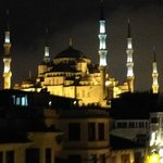 Blue Mosque at night from terrace