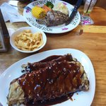 Steak with hogs chips and rack of ribs