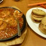 the fried prawns and the onion pancakes