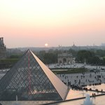 View from inside the Louvre at sunset