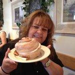 One warm big cinnamon roll to share!
