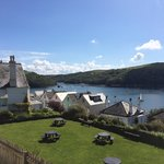 Fowey Hotel garden and view up river.