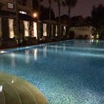 The enticing salt water pool at night