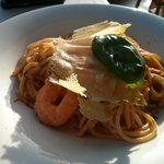 Spaghetti with shrimps at Portofino