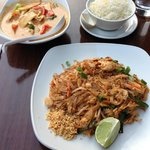 Red Chicken Curry and Chicken Pad Thai
