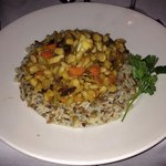 Chef Pat's Mild Curry Veggie Creation over Pilaf - outstanding for a vegan!