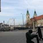 Budapest - Váci útca - Belvarosi Plebania Templom on the right - Erszébet híd