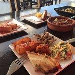 Lovely! Potato bravas, belly pork, Italian summer pasta, beef Tagine & garlic mushrooms!! Plenty