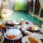 huge breakfast in villa !