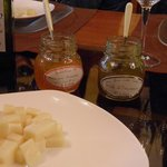 Orange jam, Dandelion jam and divine cheese paired with great wine at Tessari