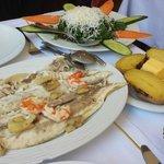 Delicious sea bass in salt